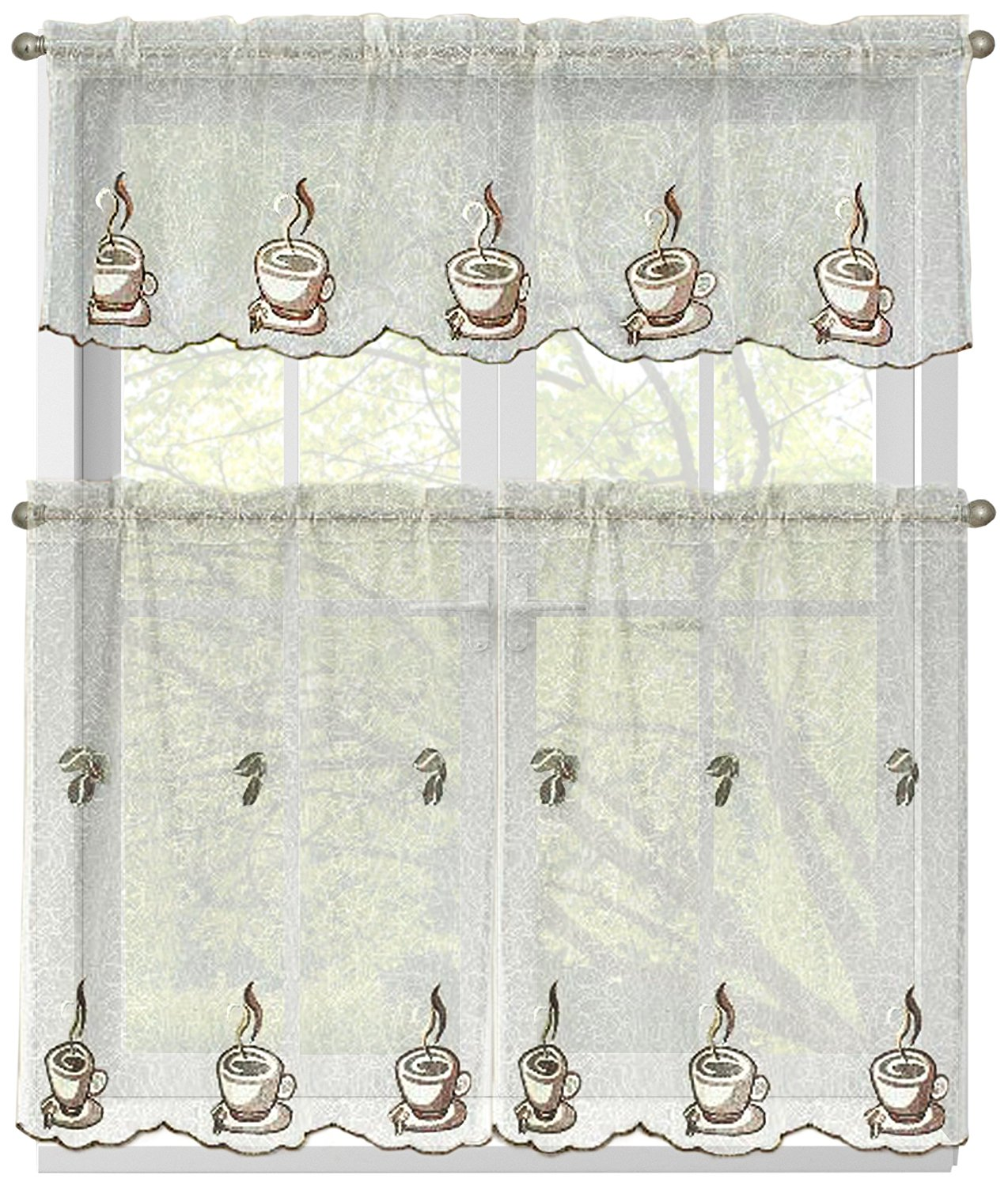 Window Elements Embroidered 3-Piece Kitchen Tier and Valance 60 x 54 Set, Three Cups a Day