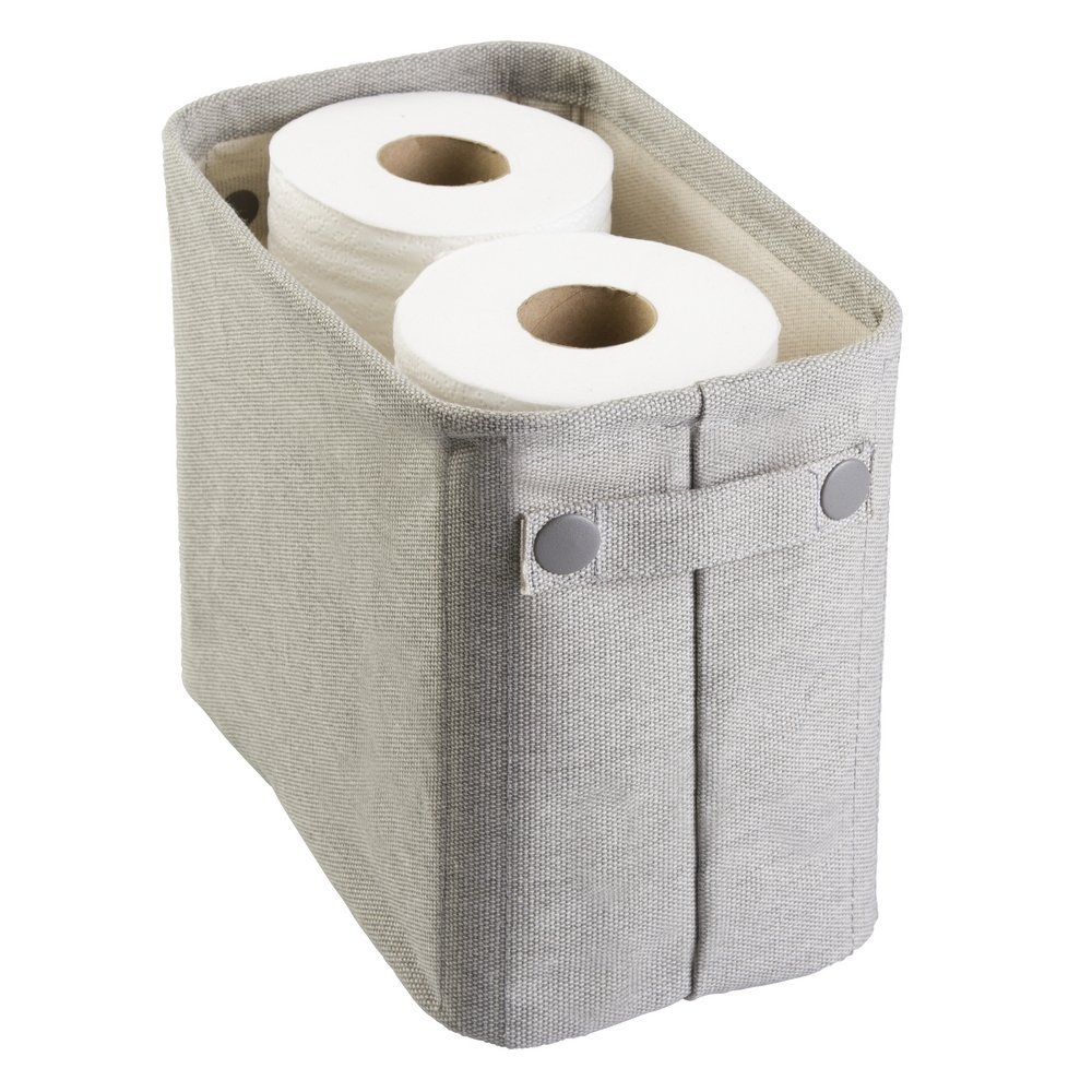 mDesign Cotton Fabric Bathroom Storage Bin for Magazines, Toilet Paper, Bath Towels - Large, Light Gray