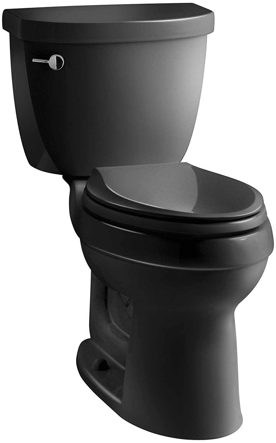 KOHLER K-3589-7 Cimarron Comfort Height Elongated 1.6 gpf Toilet with AquaPiston Technology, Less Seat, Black Black