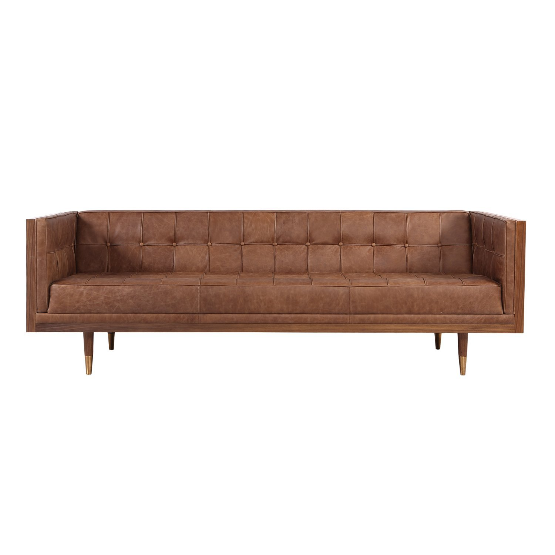 Kardiel Woodrow Midcentury Modern Box Sofa, Vintage Brown Distressed Leather/Walnut