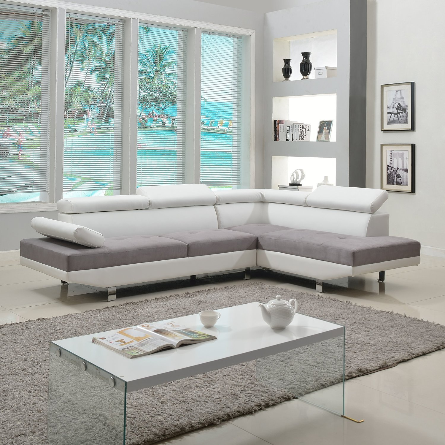 Divano Roma Furniture Modern Contemporary Designed Two Tone White/Grey  Microfiber And Bonded Leather Sectional Sofa