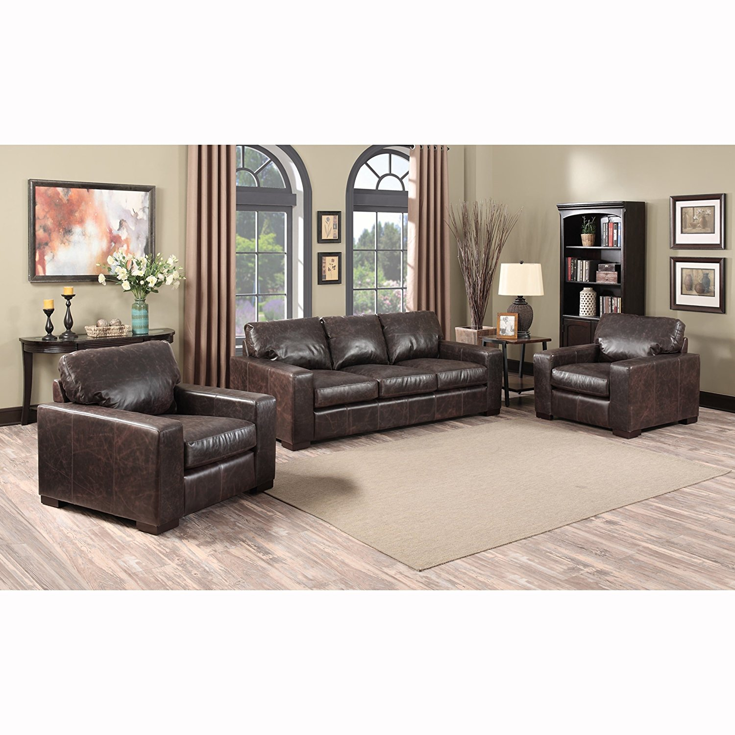 Sofaweb.com Inc. Maxweld Premium Distressed Brown Top Grain Leather Sofa and Two Chairs