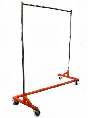 400LB LOAD Commercial Grade Rolling, Z Rack Garment Rack with Nesting Orange Base