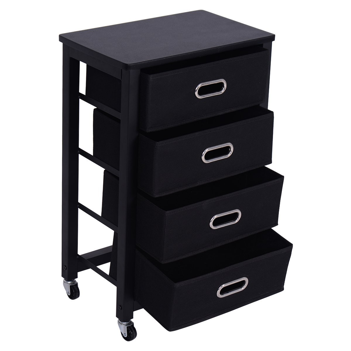 Giantex Rolling File Cabinet Heavy Duty Mobile Storage Filing Cabinet w/ 4 Drawers Black