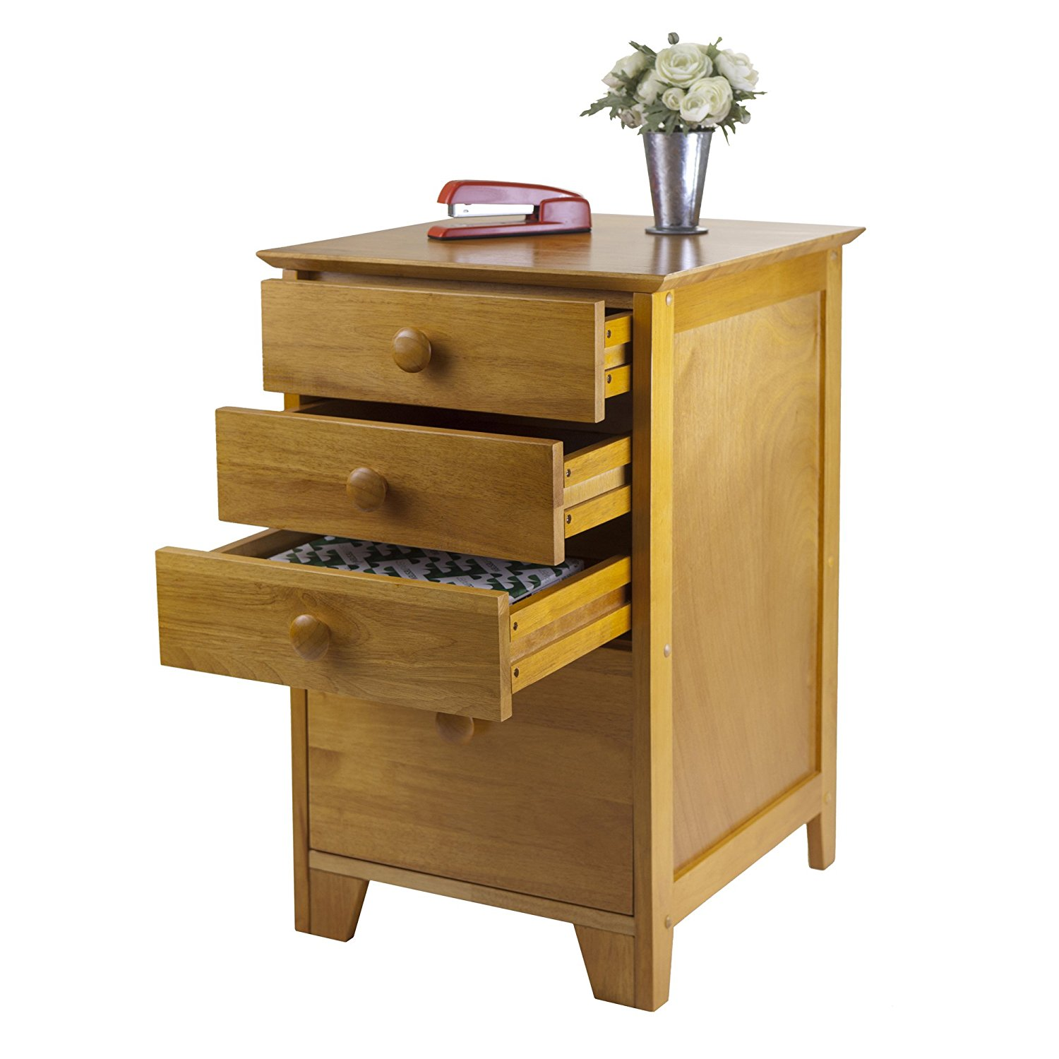 Honey Pine Filing Cabinet - Extra Storage Drawers