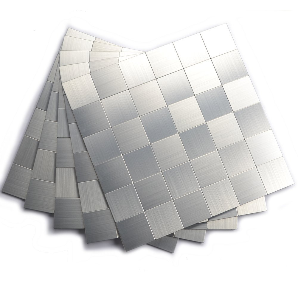 Peel and Stick Mosaics, Kitchen Tiles for Backsplash(12x12 Inch, Brushed Aluminum)