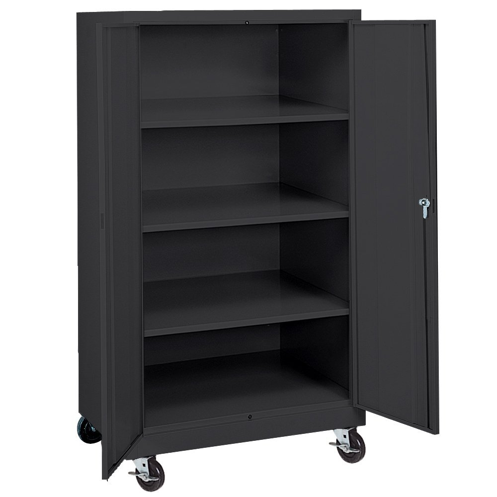 "Sandusky Lee TA3R362460-09 Black Steel Transport Mobile Storage Cabinet, 3 Adjustable Shelves, 66"" Height x 36"" Width x 24"" Depth"