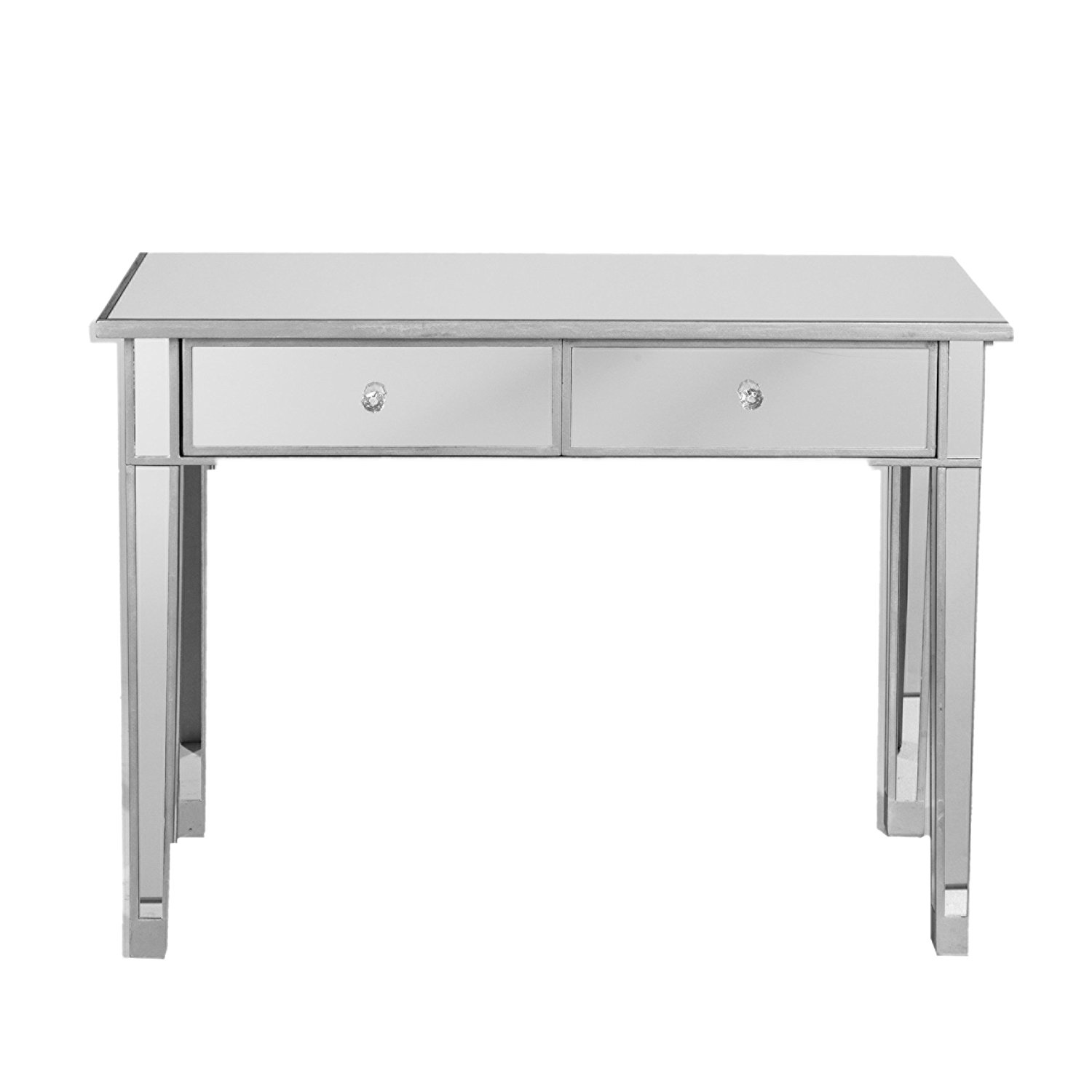 Southern Enterprises Mirage Mirrored 2 Drawer Media Console Table, Matte Silver Finish with Faux Crystal Knobs
