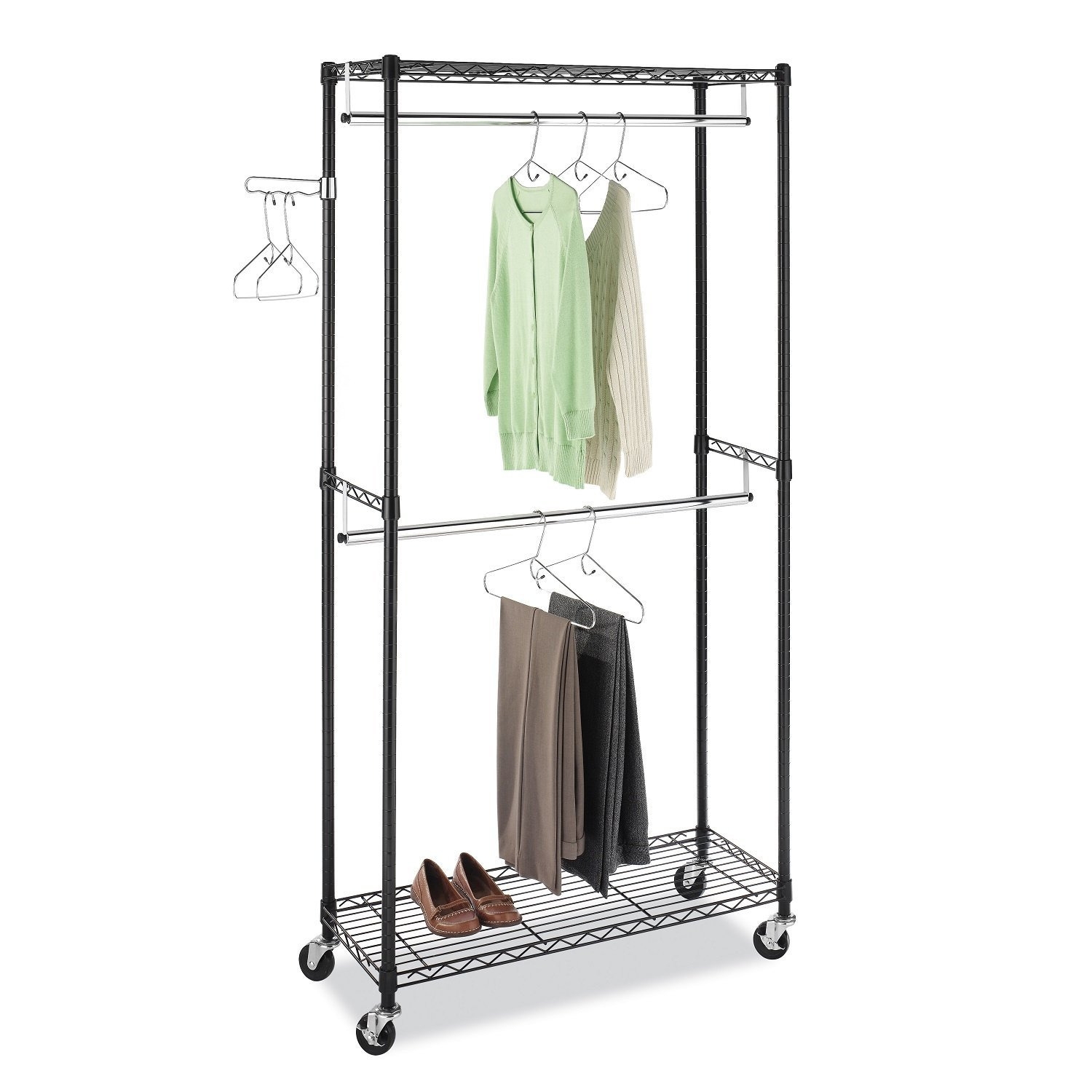 Whitmor Supreme Double Rod Garment Rack, Black & Chrome with Wheels