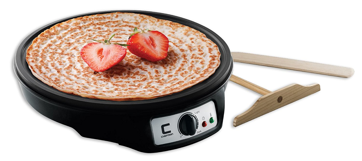 """Chefman Electric Griddle & Crepe Maker, Precise Temperature Control for Perfect Crepes, Blintzes, Pancakes, Eggs, Bacon and more, 12"""" Non Stick Grill Pan, Includes Batter Spreader & Spatula - RJ33-C"""