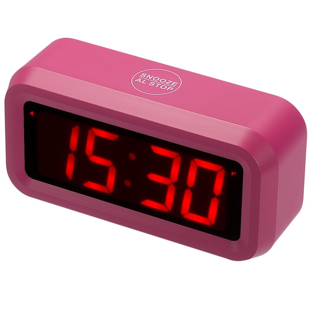 Kwanwa Girls Alarm Clock with Red LED Display Small Home or Portable Design | Battery Powered | Loud, Clear Sounds | Vintage Style