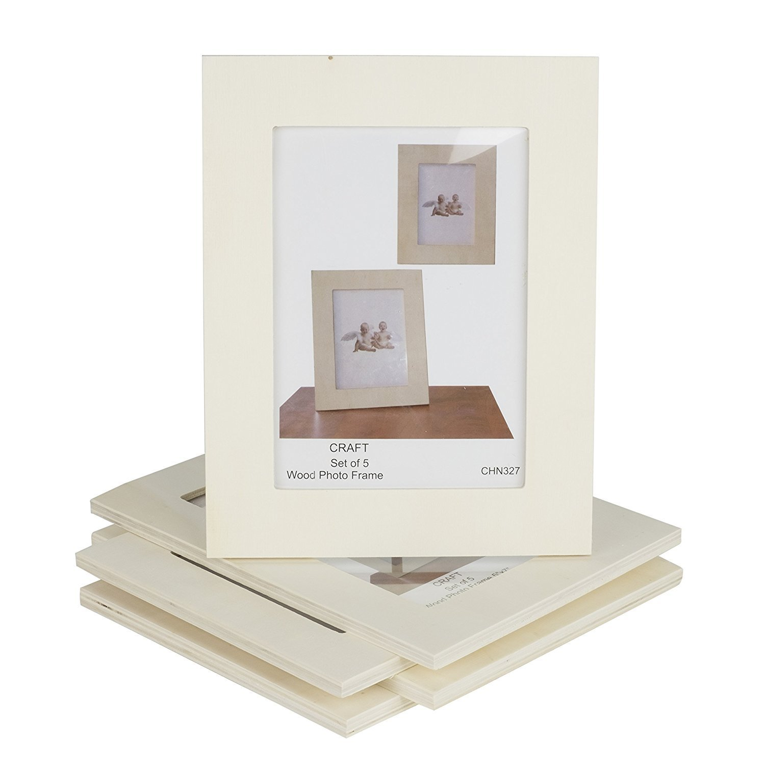 Unfinished Solid Wood Photo Picture Frames 4x6 Inch Ready to Paint for DIY Projects Set of 5