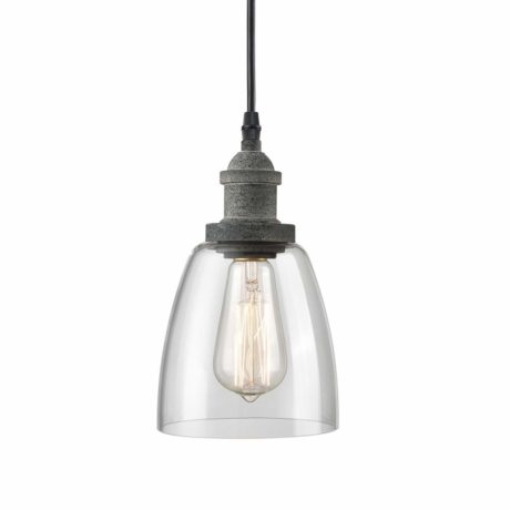 CLAXY Rustic Mini Glass Pendant Light Clear Glass Kitchen Island Pendant Lighting