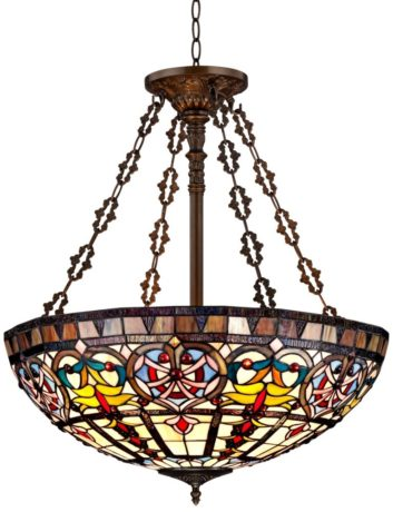 "Ornamental Tiffany Style 24"" Wide Art Glass Pendant Light"