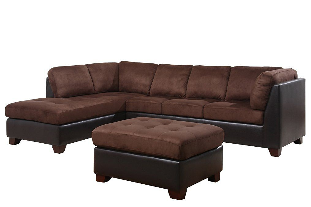 Abbyson Living Santa Maria Sectional Sofa/Ottoman, Dark Brown