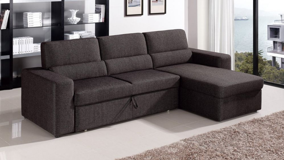 Black/Brown Clubber Sleeper Sectional Sofa - Right Chaise