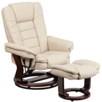 Flash Furniture BT-7818-BGE-GG Contemporary Beige Leather Recliner and Ottoman with Swiveling Mahogany Wood Base
