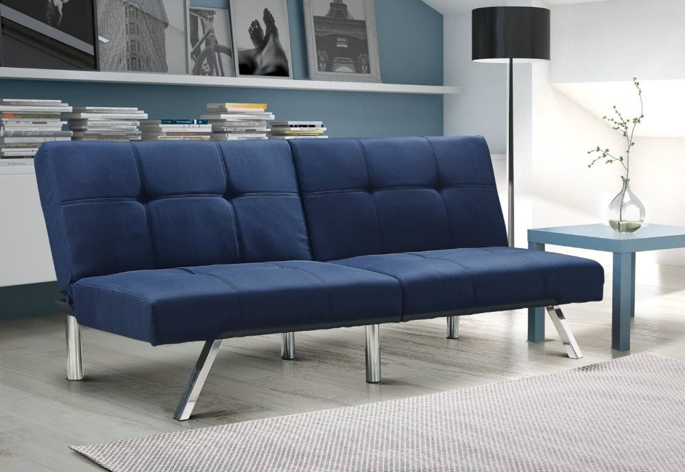 Layton Futon Sofa Bed Sectional Convertible Couch in Premium Linen, Available in Navy and Tan with Slanted Chrome Legs (Futon, Navy)