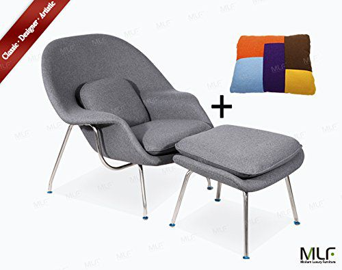 MLF Eero Saarinen Womb Chair & Ottoman (8 Colors). Premium Cashmere & High Density Foam Cover on Fiberglass. High Polished Stainless Steel. All Hand Sewn. Mid-Century Scandinavian Organic Modernism Style. Curl Up & Relax in Comfort. (Light Grey)