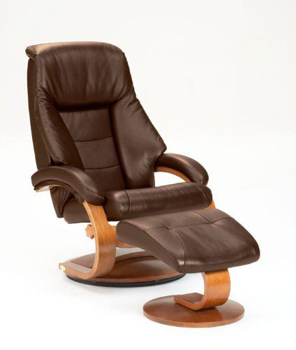 Oslo Collection 58/LO3-40/103 Swivel Recliner and Ottomon in Expresso Leather with Walnut Finish