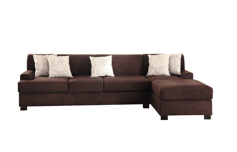 Poundex Bobkona Hudson Microsuede 4-Seat Reversible Sectional Sofa, Chocolate