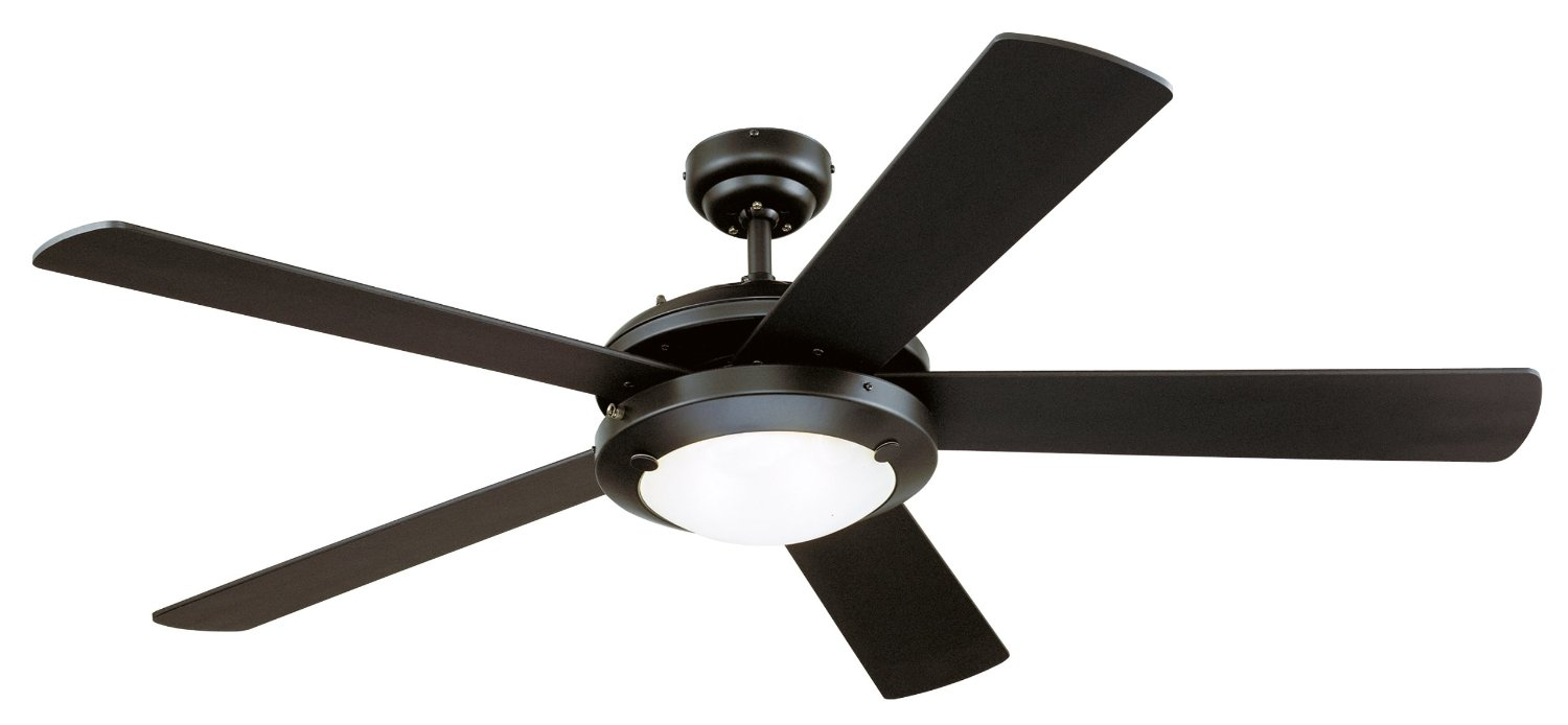 Westinghouse 7801665 Comet Two-Light 52-Inch Reversible Five-Blade Indoor Ceiling Fan, Matte Black with Frosted Glass