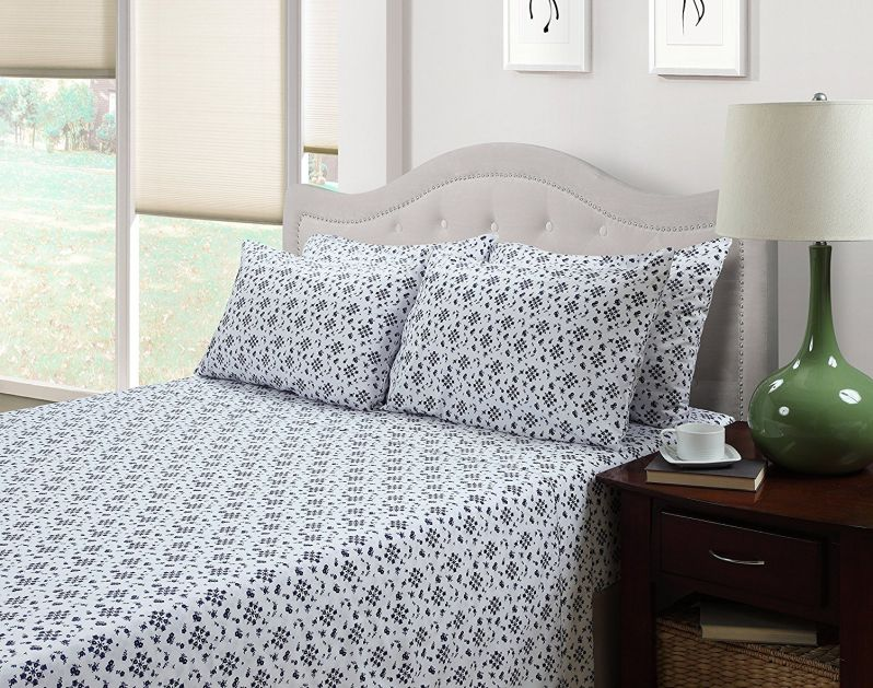 214 West 300 Thread Count Ditsy Floral Printed Sheet Set, Dark Blue Floral, Twin