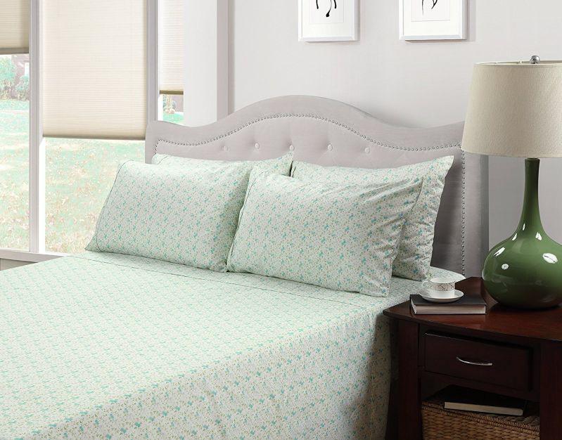 214 West Easy Care Brushed Sheet Set, King, Aqua Floral Print