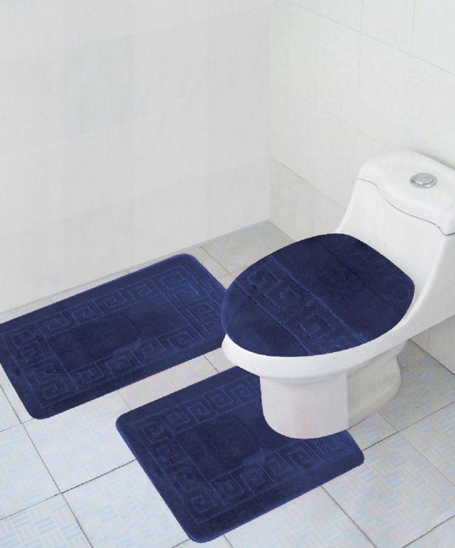 "3 Piece Bath Rug Set Pattern Bathroom Rug (20""x32"")/large Contour Mat (20""x20"") with Lid Cover (Navy)"