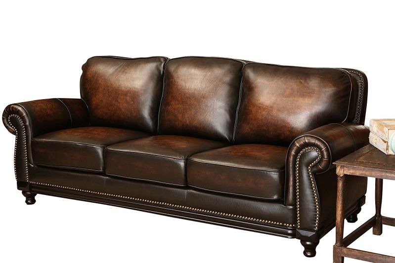 Abbyson Living Barclay Hand Rubbed Leather Sofa