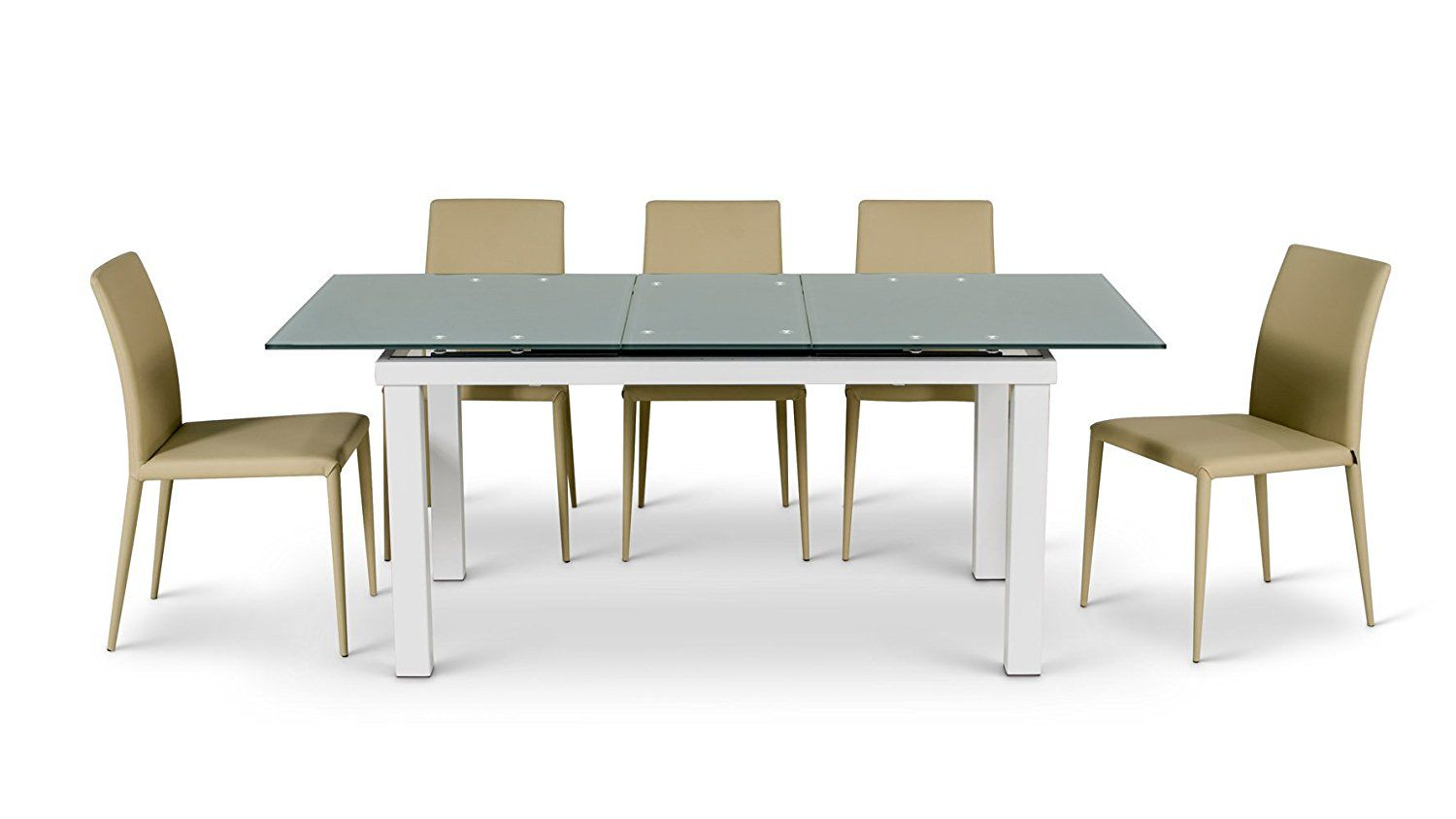 Alanzo Expandable Metal Dining Table with Blue / Green Glass Top