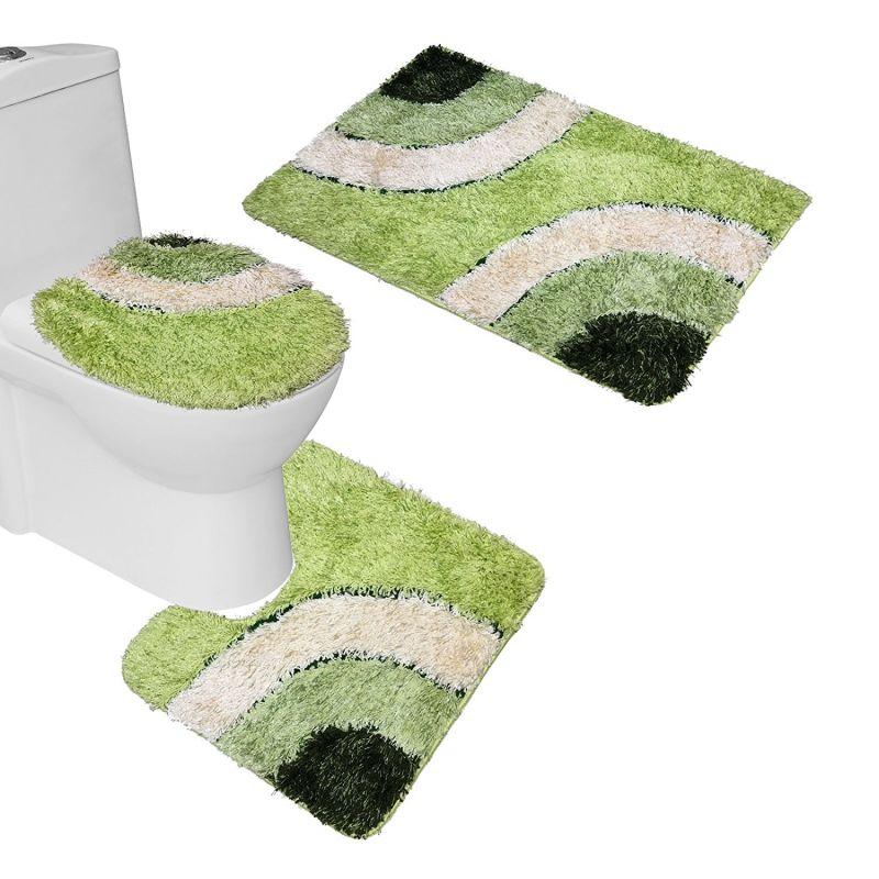 Amagical Microfiber Rug 3 Piece Bath Mat Set Pedestal Lid Toilet Cover Rug Bath Mat (Green)