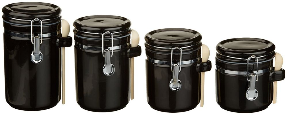 black kitchen canisters kitchen canister sets food 10742