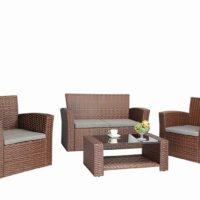 Baner Garden (N87) 4 Pieces Outdoor Furniture Complete Patio Cushion Wicker Rattan Garden Set, Full, Brown