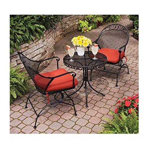 Clayton Court 3-Piece Motion Outdoor Bistro Set, Red, Seats 2