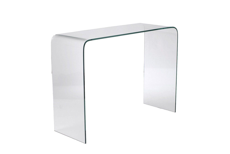 Eurø Style Gita Modern Bent Glass Console Table