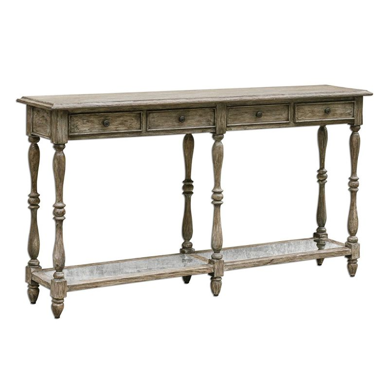 Extra Wide Distressed Weathered Wood Console Table | Long Cottage Vintage Style