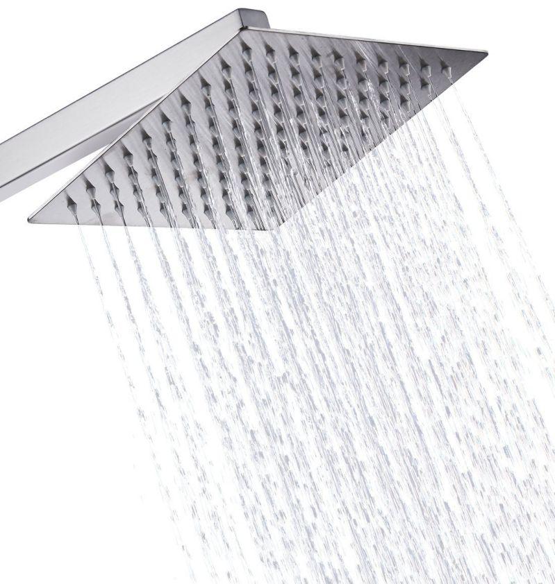 Eyekepper Stainless Steel Shower Head - Rain Style Showerhead, Waterfall Effect, Elegantly Designed, High Polish Chrome, 8-inch Diameter, Ultra Thin, teflon tape included