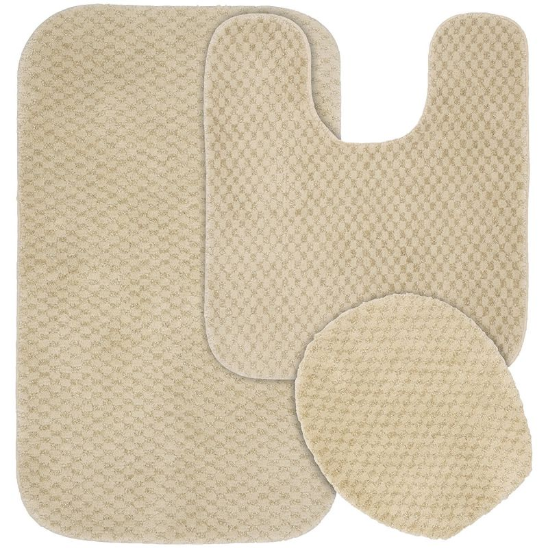 Garland Rug 3-Piece Cabernet Nylon Washable Bathroom Rug Set, Linen