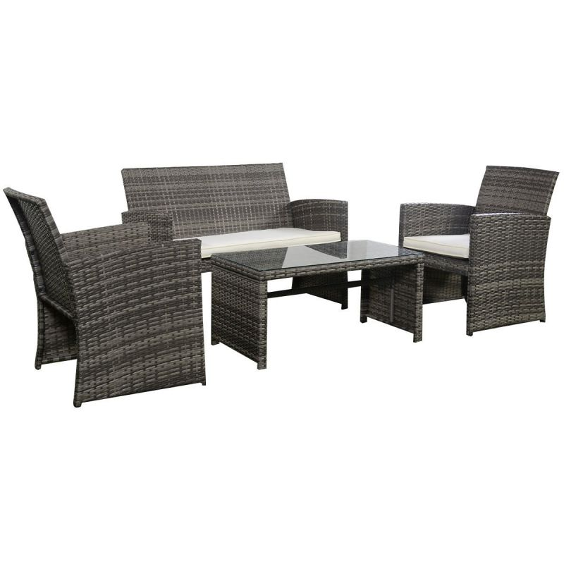 Goplus Outdoor Garden Patio 4-Piece Cushioned Seat Mix Gray Wicker Sofa Furniture Set