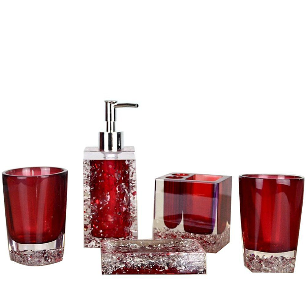 exciting red bathroom accessories sets | Beautiful Red Bathroom Accessories Sets – HomeInDec