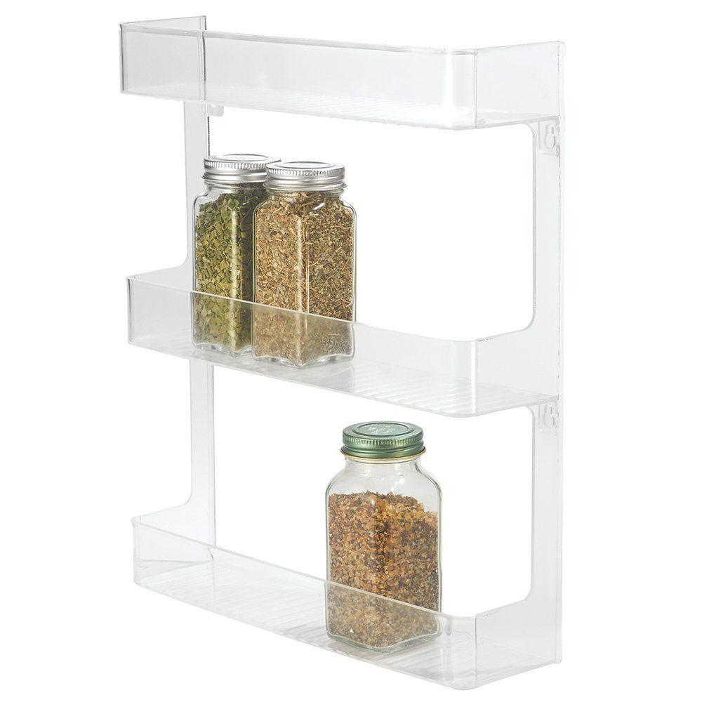 InterDesign Linus Wall Mount Spice Organizer Rack for Kitchen Storage - 3-Tier, Clear