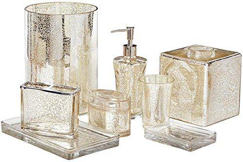 Lucca Bath Accessories, WASTE, MERCURY GLASS
