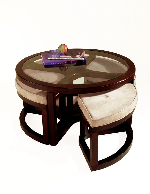 Magnussen Juniper Wood Round Cocktail Table with 4 Stools
