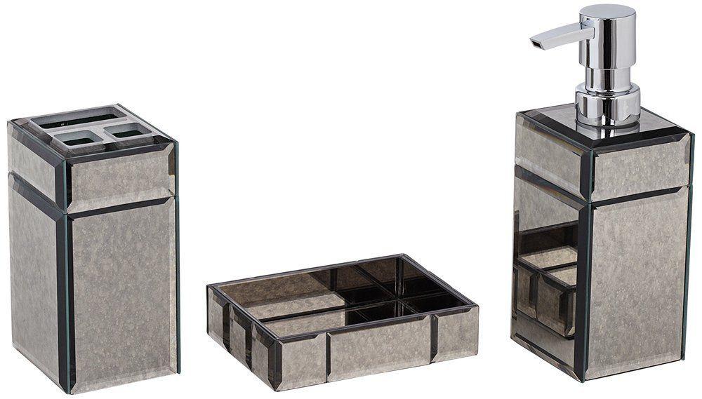 Mercury Glass 3-Piece Bathroom Accessory Set