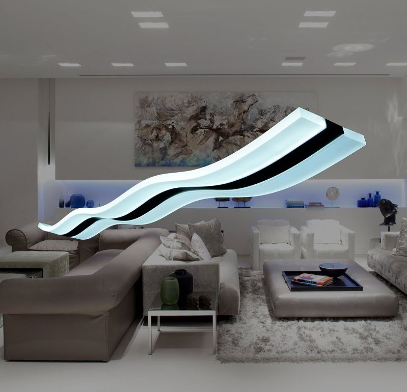 Modern.Place Modern Wave LED Pendant Lights Fixture Ceiling Chandelier Light Lighting Fixture for Contemporary Living Room Bedroom Dining Room (Cool White LED)