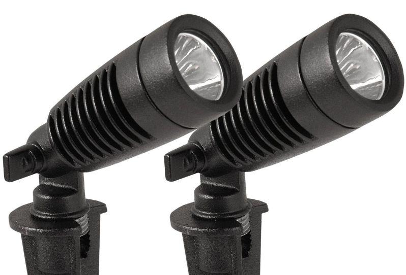 Moonrays 95557 1-Watt Low Voltage LED Outdoor Landscape Metal Spot Light Fixture, Black (Pack of 2)