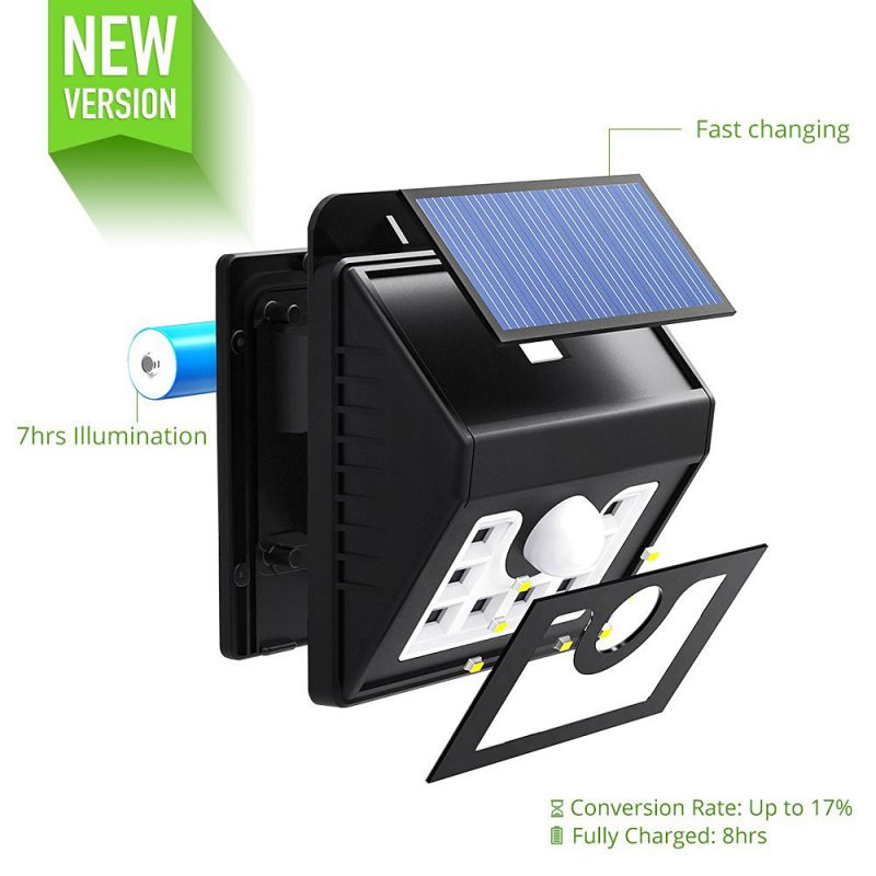 Mpow 2-Pack Solar Wall Light, Bright Outdoor Weatherproof Security LED Motion Sensor Lighting
