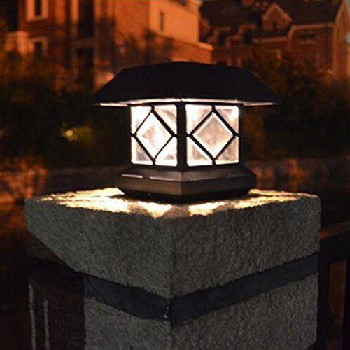 Solar Power Post Cap Fence Light LED Outdoor Garden Landscape Lamp