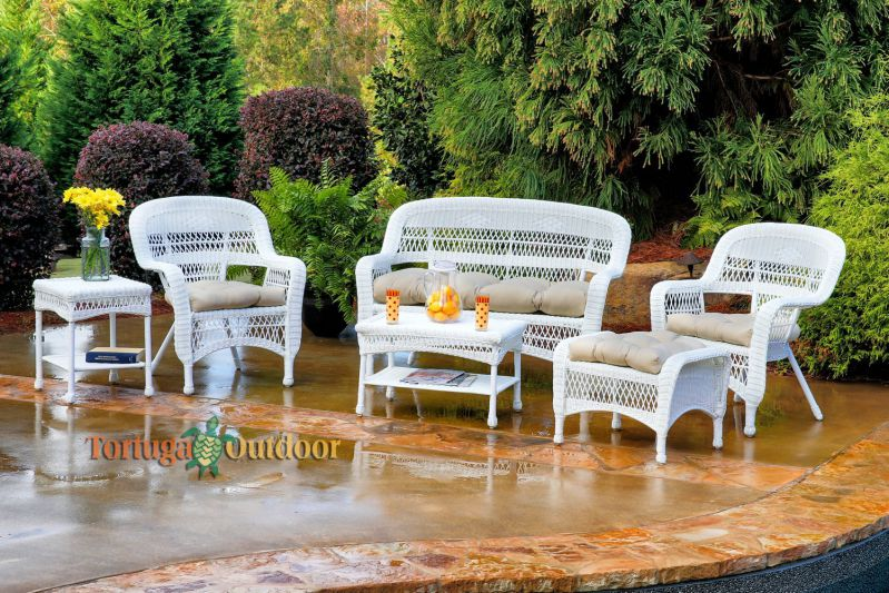Tortuga Portside 6 Piece Wicker Outdoor Seating Set, White Wicker, Sand Fabric